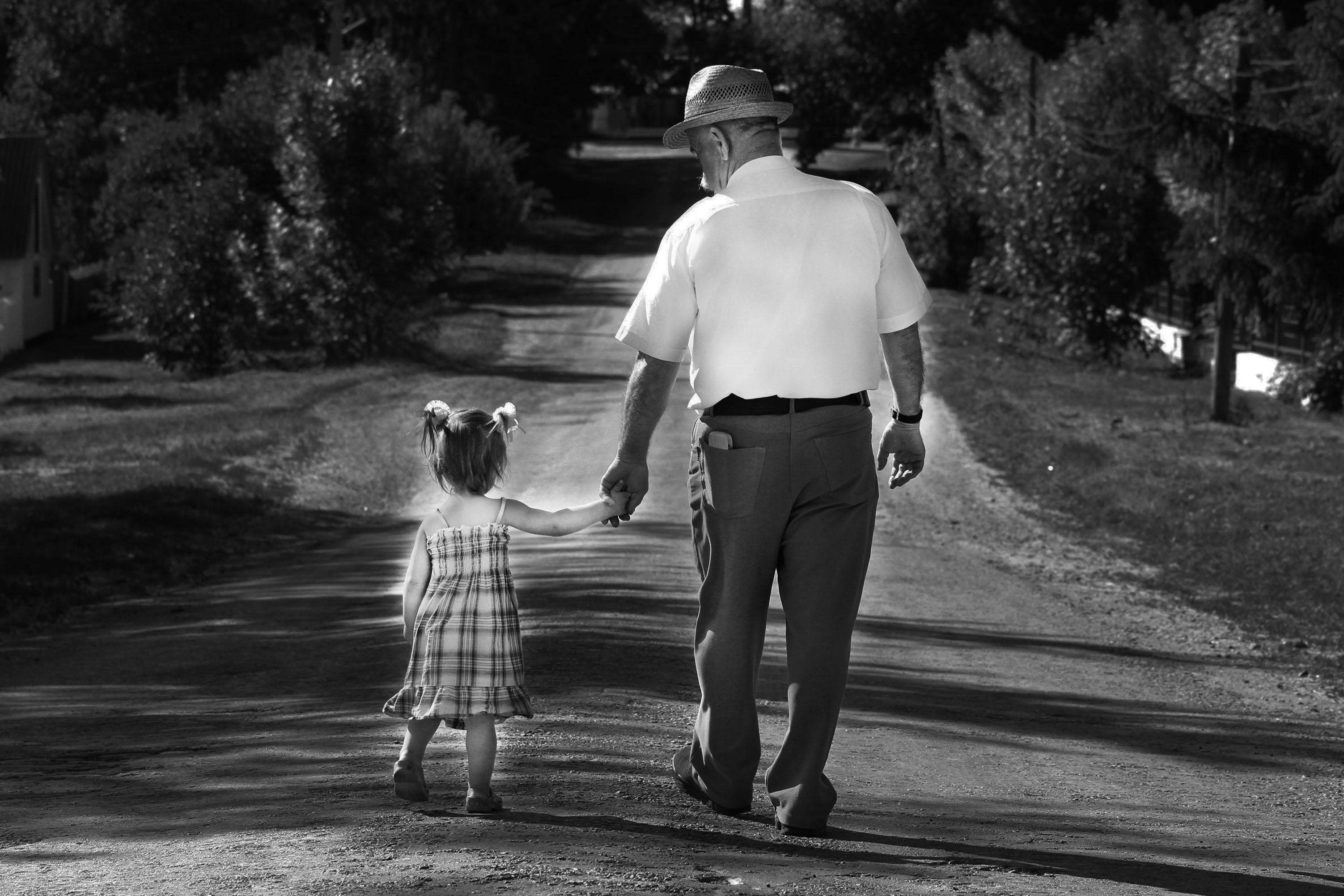 Grandpa and her blonde grand daughter