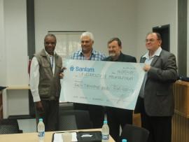 Prof John Shongwe, Mr Albert Coetzee from Sanlam, Prof Rick Barnard and Mr Willem Van Zyl from Sanlam.