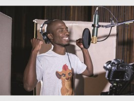 Karabo Mogane in studio recording the theme song for new Disney Junior series.