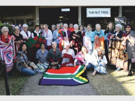 Some of the contributors with their blankets.