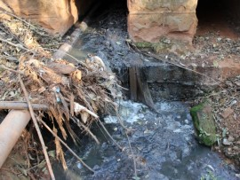 Sewage leaking into the Sabie River.