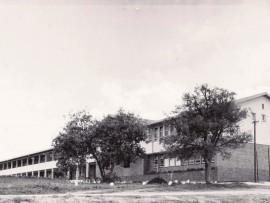 NELSPRUITSKOOL1952 Die pasvoltooide gebou van die nuwe Hoërskool Nelspruit in 1952. Die eerste laerskool het net leerders tot st. 6 gehuisves. Afrikaanssprekendes is vir verdere skoolopleiding van die dubbelmediumskool van dr. AP van der Merwe op Belfast gestuur of na die Afrikaanse Hoërskool op Ermelo.