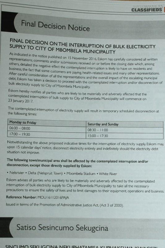 final notice eskom electricity