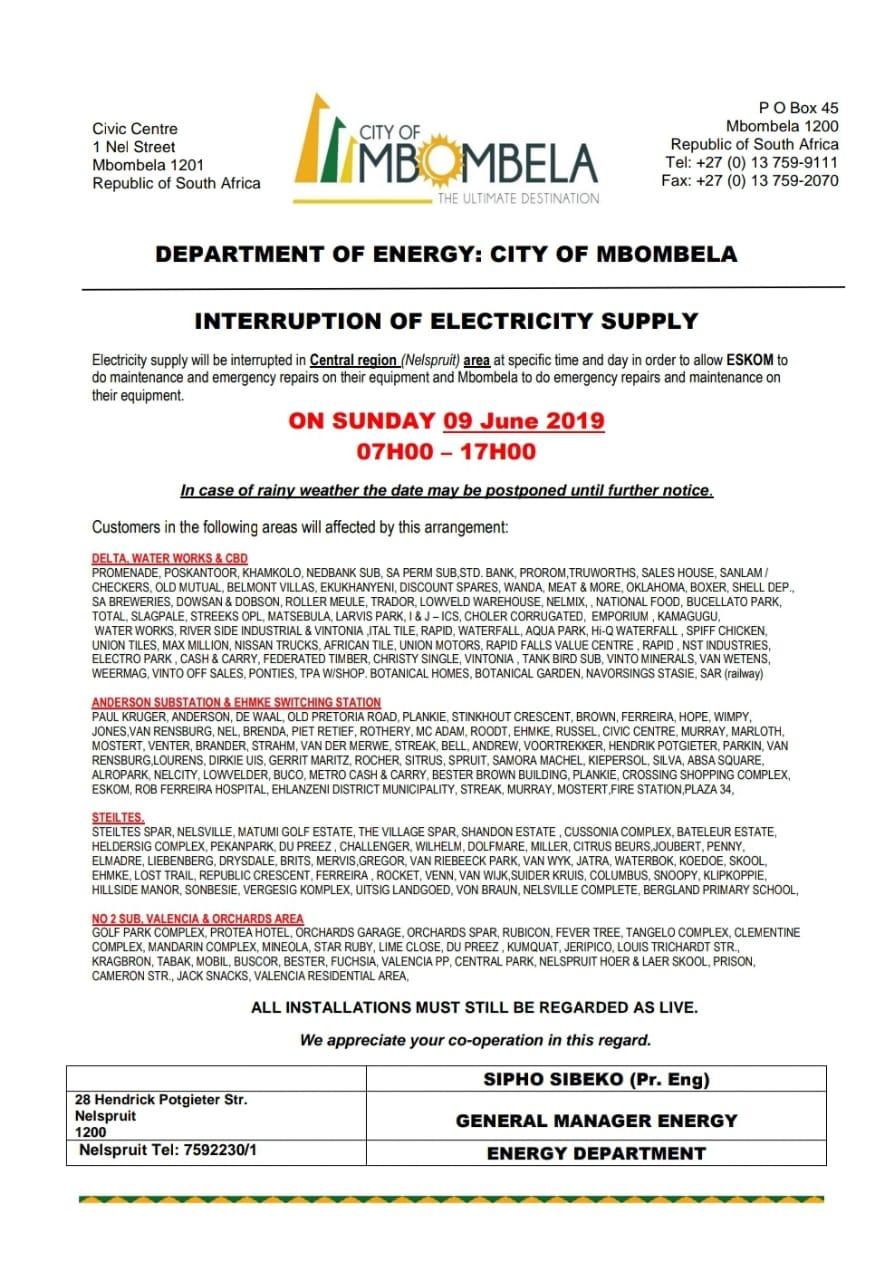 NOTICE: Ten-hour power cut planned for Mbombela | Lowvelder