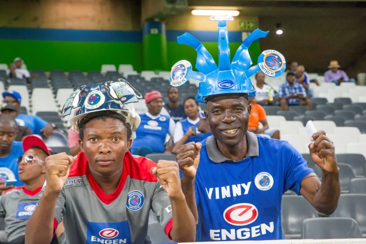 NELSPRUIT, SOUTH AFRICA - NOVEMBER 29: SuperSport United Supporters during the Absa Premiership match between SuperSport United and Bidvest Wits at Mbombela Stadium on November 29, 2016 in Nelspruit, South Africa. (Photo by Dirk Kotze/Gallo Images)