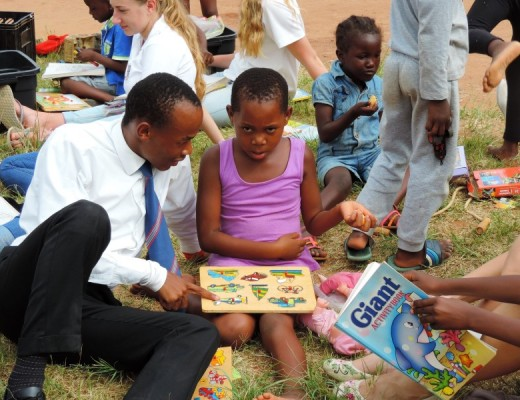 The group from Penryn College entertained kids in Msholozi with puzzles, colouring books and other toys.