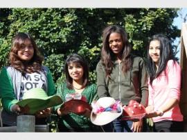 Getting ready for the Crazy Hats Fun Walk are Sarah Ramkumar, Arati Bridgemohan, Nonjabulo Ntanzi and Tachiana Atkins.