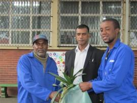 Griffin Ndlovu, the gardener at Greyville Primary School,  Kuben Pillay and Vukani Hlekwane from Belor.