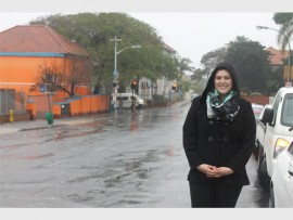 Nicole Graham stands in Hunt Road, where the municipality is proposing to extend the one-way system to help resolve issues of traffic congestion.