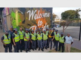 The team of Metro officers with Khayelihle Maphumulo from Enforce Security.