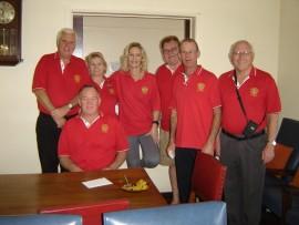 Rotarians Rydal Spavins, Derek Hucklesby, Lauraine Lafferty, Olivia Allison, Mike Hiron, Jimmy Lee and John Johnston-Webber.