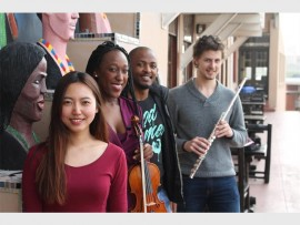 Youth musicians, Yohan Chun (piano), Keamogetswe Magau (violin), Tabiso Busani (voice) and Rian Smit (flute) are seen at the Bat Centre ahead of their debut concert with the KZN Philharmonic Orchestra on Thursday. Photo: Illa Thompson/Publicity Matters