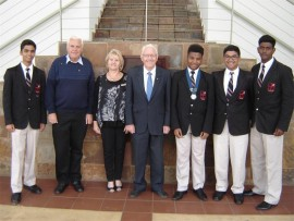 Rahul Mistri, Rotarian Rydal Spavins, Rotarian Lauraine Lafferty, Assistant Governor John Johnston-Webber, President Mpumelelo Zulu, Uwais Mahomed and Rakeen Mohammed.
