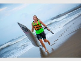Euro Steel/Fenn Kayaks' Jenna Ward made it two in a row when she clinched victory at race two of the 2016 Illovo Suncoast Pirates Wall and Back Surfski Series on Friday evening.  Kevin Sawyer/ Gameplan Media