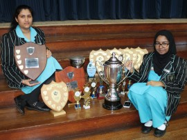 Ridge Park College's Timika Bhairoparsad the Dux runner up and Azra Ismail who won the Dux award.