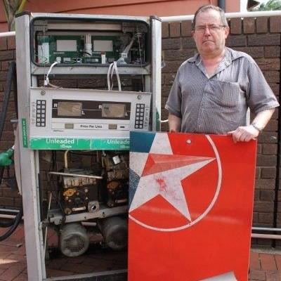 Tony Ball with the damaged petrol pump.