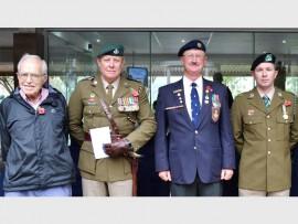 Richard Shave, Lt Col Greg de Ricquebourg (Durban Light Infantry), Legionnaire Bryan Doré (SA Legion of Military Veterans) and Lance Corporal Sergio Campos (Natal Mounted Rifles).