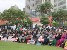 Citizens of Durban gathered at Gugu Dlamini Park as part of a nationwide initiative of concerned citizens to demonstrate solidarity with Finance Minister Pravin Gordhan, former SARS Commissioner Oupa Magashula and former Deputy Commissioner Ivan Pillay.