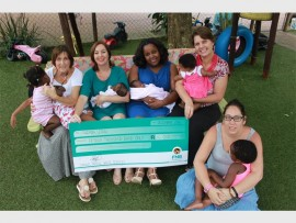 iThemba Lethu housemother Liz Holley, Sharon de Beer and Sphindile Mngadi from Compass Medical Waste Services, iThemba Lethu coordinator, Karen Brokensha and housemother, Roxie van der Linde celebrating the R15 000 donation from Compass Cares, the CSI arm of Compass Medical Waste Services.