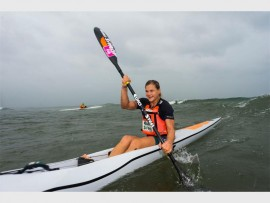 Euro Steel star Bridgitte Hartley showed her incredible diversity as she claimed the win in the women's race at race one of the 2017 FNB Surfski Series on Friday, 6 January. PHOTO: Anthony Grote/ Gameplan Media