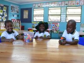 Durban Primary School, Grade R learners, Gcina Maqeda, Sinenjabulo Zondi and Ayabonga Phewa.