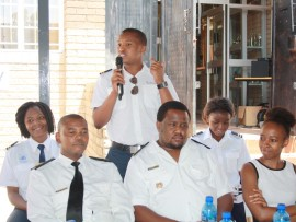 AT THE Iphutheng Primary School Careers Day are (front): Warrant Officer Pitsi David Mphasha of the SA Navy; leading seaman, Fezibongo Ndinga; Mosha Senyolo, a quantity surveyor of Piloane Consulting Services. Back: Nchabeleng Michelle of the SA Civil Aviation Authority; Mncedisi Mkhize (standing), a cadet pilot of SA Airways and Rael Osimbo of Superior Plot Services.
