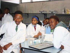 SOME of the pupils at the new laboratory being launched at the Sci Bono Discovery Centre in Newtown.