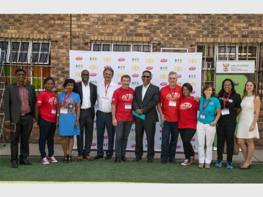 SOME of the dignitaries of Unilever South Africa pose for a photo at MC Weiler Primary School.