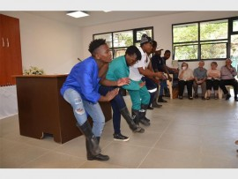 Gumboot dancers perform at an awards ceremony at Mitzvah School in Morningside, Sandton.