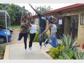Jumps of joy. Kwa-Bhekilanga Secondary School's 2016 high achievers Khensani Nukeli, Nyeleti Ngobeni, Makgale Tlaka and Hloniphane Mabasa.