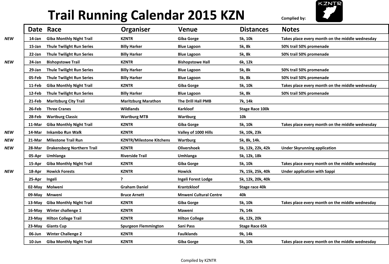 2015 Trail Running Calendar Released Berea Mail