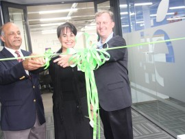 Prof Narend Baijnath (Council on Higher Education CEO), Prof  Driekie Hay-Swemmer (Educor group chief academic officer) and Charles Reeves (Educor Holdings CEO) officially open the Educor Academic Advising Centre.