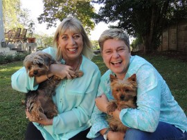 Barbara Patrick, manager of the Kloof and Highway SPCA, with Tanya Visser, Gracie and Holly.