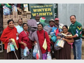 Back: Pastor Krish Govender, Victor Ntombela (Gift of the Givers), Moonsamy Naidoo, Sadha Govender and Aslam Essa. Front: Angie Akoo, Molly Govender, Kamal Pillay and Panandewi Ramadew.