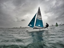 Peter Hall zips past the bridge boat on his Hobie 16 during the Bart's Bash sailing event. PHOTO: Sophie Thompson