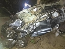 The vehicle that was damaged during the accident.