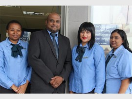 African Bank Malvern staff Zibuyile Xaba, branch manager, Rowen Reddy, Deshnee Pillay and Sujatha Soobramoney.