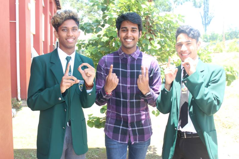 Star College Boys' High learners, Damien Naidoo (10 A's), Darshen Bhawan (12 A's) and Kirsten Mopp (10 A's) were the top three matric learners at the school.