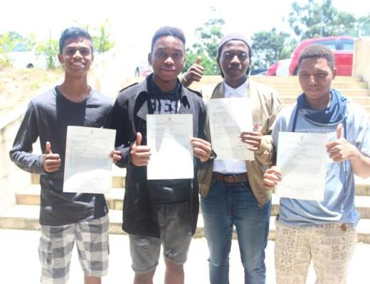 Star College learners, Kameel Pillay (5 A's), Sandile Ndlela (8 A's), Nkanyezi Nhlumayo (6 A's) and Yanga Mbele (6 A's), celebrate their results.