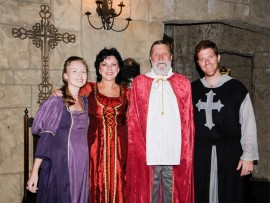 Prithee, join Chanel, Karin, Alan and Paul Hoyte (pictured at CROW's at the Medieval feast in March 2014) anon at Greensleeves in Hillcrest this Valentine's Day.