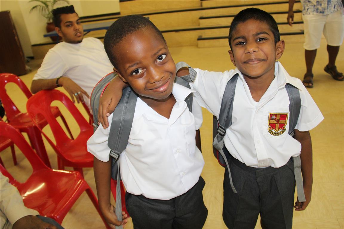 Ayabonga Mntambo and Levi Reddy excited to start school.