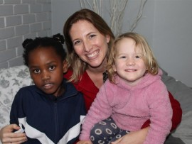 Centre director, Amy Rodger, with her daughter, Grace Rodger and pupil, Khanyiso Ntuli.
