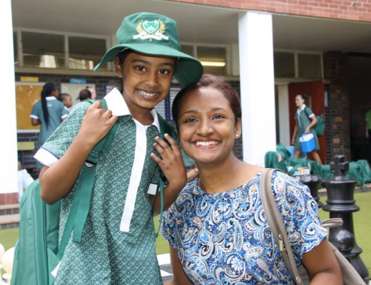 Shauri gets some early morning encouragement from her mom, Kershania Naidoo.