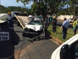The accident occurred at the corner Margaret Maytom Avenue and Adelaide Tambo Drive in Durban North about about 9.20am this morning.