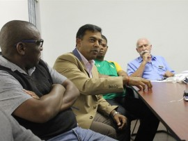 Ashan Nandlal, eThekwini's senior manager for water operations, addresses the community.