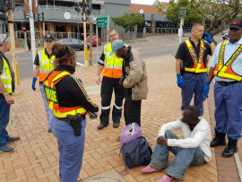 One of the four vagrants arrested in this morning's operation was found in possession of dagga. PHOTO: Mary Knox