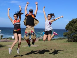 Crusaders Running Club members Cayleigh Marais, Gordon Reid and Demi Mauvis encourage residents to support the Beer Mile charity event in aid of the Childhood Cancer Foundation of South Africa (CHOC).