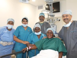 Nozipho Magudulela, Preshini Govender (enrolled nurses), Dr Nasser Khan, Ndlovu Zanele (scrub sister), Thembi Maphalala and Dr Abdul Ballim (anesthetist).