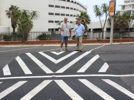 uMhlanga Heinz de Boer and DeWet Geldenhuys of the uMhlanga UIP are pleased with the recent project to install seven speed humps on Lagoon Drive.