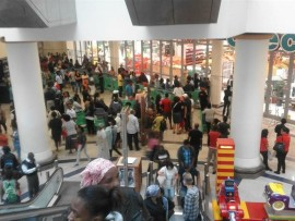 Hordes of shoppers in Gateway.